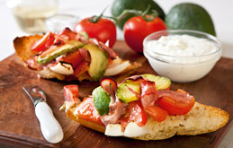 Avocado and Vine Tomato Bruschetta with Sour Cream & Chive ...