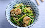 Asparagus, Chilli, Lemongrass and Lime Leaf Stir Fry with King Prawns