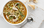 Chicken tarragon soup with orzo pasta