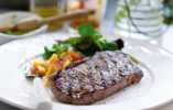 Barbecued Steak with Peach Relish