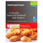 Waitrose 6 Frozen Battered Haddock Fingers