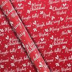 Waitrose Red Script Gift Wrap 4m