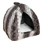 Rosewood 40 Winks Cat Bed Grey & Cream Snuggle Plush Pyramid
