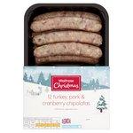 Waitrose 12 Turkey bacon sage onion & cranberry chipolatas