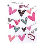 Hand Finished Hearts Birthday Card