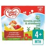 Cow & Gate 4 Mths+ Banana, Peach & Strawberry 100% Fruit Pots