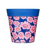 Garden Plant Pot - Blue & Pink Floral