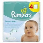 Pampers Fresh Clean Refill Baby Wipes 4 x 64 per pack