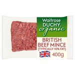 Organic British Beef Mince Waitrose (typically 10% fat)