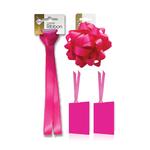 Fuschia Satin Gift  Ribbon, Bow & Tags Pack